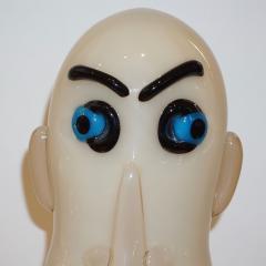 Formia Murano Formia 1980s Modern Italian Comic Ivory Glass Head Sculpture - 760380