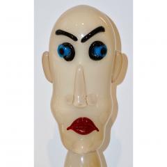 Formia Murano Formia 1980s Modern Italian Comic Ivory Glass Head Sculpture - 760382