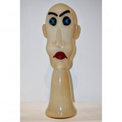 Formia Murano Formia 1980s Modern Italian Comic Ivory Glass Head Sculpture - 760383