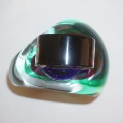 Formia Murano Formia 1990s Modern Italian Organic Blue Green Purple Murano Glass Bottle - 1524189