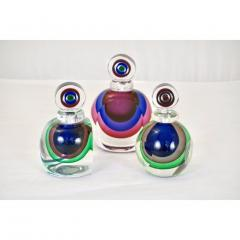 Formia Murano Formia 1990s Modern Italian Organic Green Blue Magenta Murano Glass Bottles - 455617