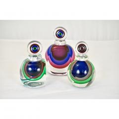 Formia Murano Formia 1990s Modern Italian Organic Purple Cobalt Blue Pink Murano Glass Bottle - 1510347