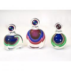 Formia Murano Formia 1990s Modern Italian Organic Purple Cobalt Blue Pink Murano Glass Bottle - 1510349