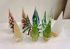 Formia Murano Formia Italian Vintage Murano Glass White and Red Christmas Tree 1980s - 1216953