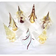 Formia Murano Formia Italian Vintage Wine Red Gold Murano Glass Christmas Tree Sculptures 1980 - 455782