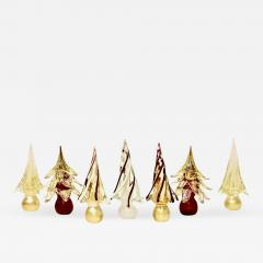 Formia Murano Formia Italian Vintage Wine Red Gold Murano Glass Christmas Tree Sculptures 1980 - 456489