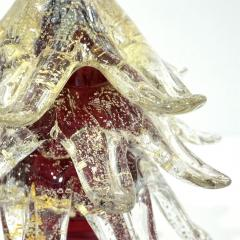 Formia Murano Formia Italian Vintage Wine Red and Gold Murano Glass Christmas Tree Sculpture - 1183925