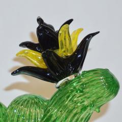 Formia Murano Formia Marta Marzotto Vintage Murano Glass Black Flower Cactus - 827771