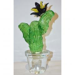 Formia Murano Formia Marta Marzotto Vintage Murano Glass Black Flower Cactus - 827775
