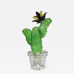 Formia Murano Formia Marta Marzotto Vintage Murano Glass Black Flower Cactus - 829000