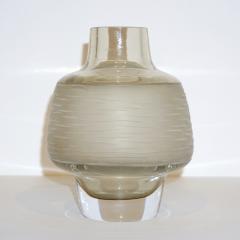 Formia Murano Formia Vintage Italian Amber Champagne Battuto Frosted Murano Art Glass Vase - 978112