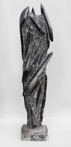 Fossilized Orthoceras Natural Granite Sculpture Specimen Petrified Cephalopods - 1835314