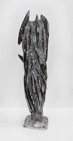 Fossilized Orthoceras Natural Granite Sculpture Specimen Petrified Cephalopods - 1835315