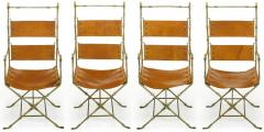 Four Custom Leather and Hand Forged Iron X Base Sling Chairs - 203676