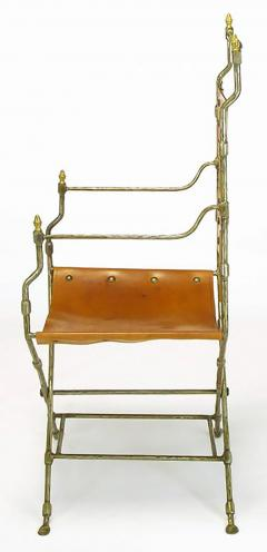 Four Custom Leather and Hand Forged Iron X Base Sling Chairs - 203684