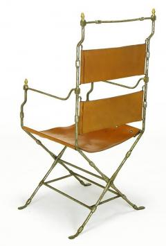 Four Custom Leather and Hand Forged Iron X Base Sling Chairs - 203685