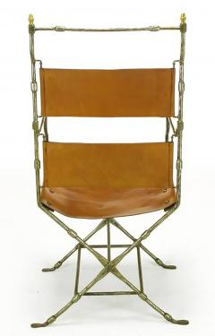 Four Custom Leather and Hand Forged Iron X Base Sling Chairs - 203686