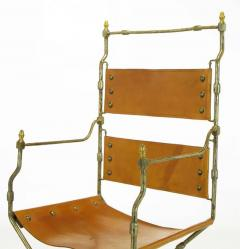 Four Custom Leather and Hand Forged Iron X Base Sling Chairs - 203687