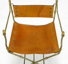 Four Custom Leather and Hand Forged Iron X Base Sling Chairs - 203688