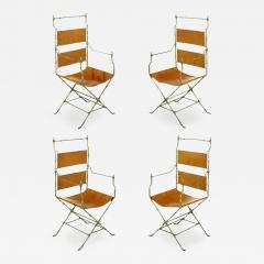 Four Custom Leather and Hand Forged Iron X Base Sling Chairs - 203975