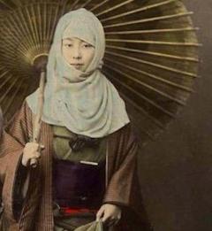 Four Felice Beato Hand Painted Japanese Photographic Studio Prints circa 1860s - 1468734