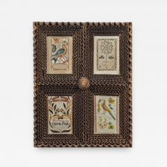 Four Fraktur Bookplates in a Carved Frame Pennsylvania - 363109