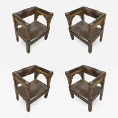 Four Franco Islamic Carved Wood and Leather Lounge Chairs - 1845775