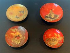 Four Japanese Lacquered Sake Cups Meiji Period - 1597974