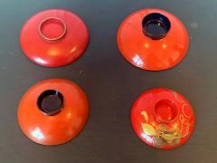 Four Japanese Lacquered Sake Cups Meiji Period - 1597978