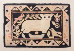 Framed American hooked wool rug - 1932877