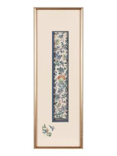 Framed Antique Chinese Embroidery Panel Qing Dynasty Provenance - 1766513
