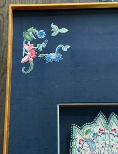 Framed Antique Embroidered Purse Qing Dynasty Provenance - 1766613