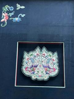 Framed Antique Embroidered Purse Qing Dynasty Provenance - 1766615