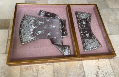 Framed Antique Two Piece Chinese Embroidery Winter Jacket Ensemble - 1888757