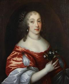 Framed Charles II Oil on Canvas of a Noblewoman - 1533662