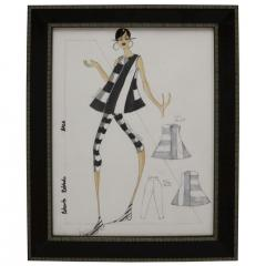 Framed Fashion Drawing and Watercolor Signed Ruben Robledo - 1210110
