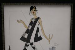 Framed Fashion Drawing and Watercolor Signed Ruben Robledo - 1210111