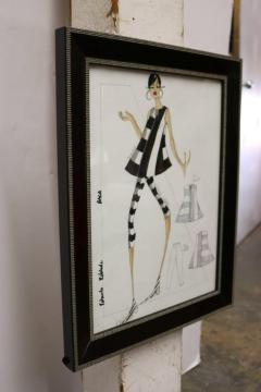 Framed Fashion Drawing and Watercolor Signed Ruben Robledo - 1210118