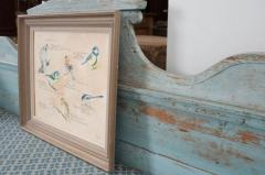 Framed French Vintage Aviaire Watercolor - 1409745