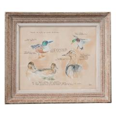 Framed French Vintage Canard Watercolor - 1409705