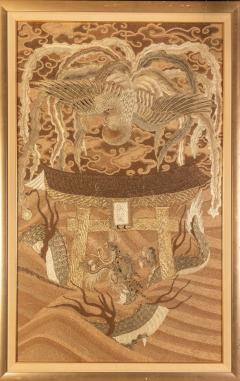 Framed Japanese Antique Phoenix and Dragon Tapestry Textile Meiji Period - 1895329