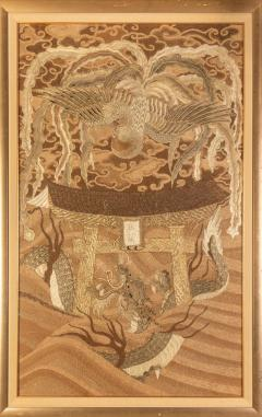 Framed Japanese Antique Phoenix and Dragon Tapestry Textile Meiji Period - 1895937