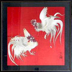 Framed Japanese Embroidery Textile Panel Rootsters - 2043157