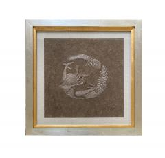 Framed Japanese Relief Embroidery Textile Art of Dragon - 1914397