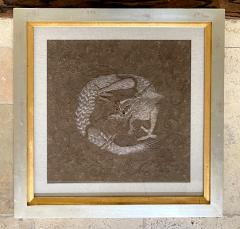 Framed Japanese Relief Embroidery Textile Art of Dragon - 1914404