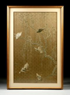 Framed Large Japanese Relief Embroidery Textile - 1136531
