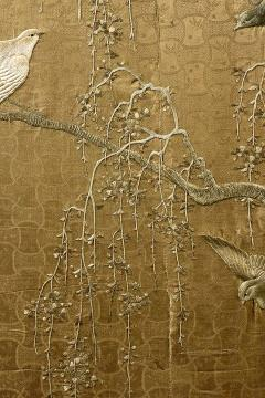Framed Large Japanese Relief Embroidery Textile - 1136533