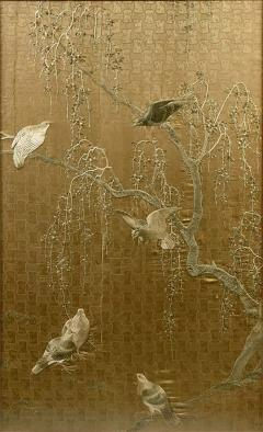 Framed Large Japanese Relief Embroidery Textile - 1136801