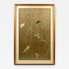 Framed Large Japanese Relief Embroidery Textile - 1136810