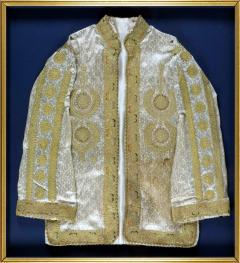 Framed Ottoman Coat with Metallic Thread Embroidery - 1410984